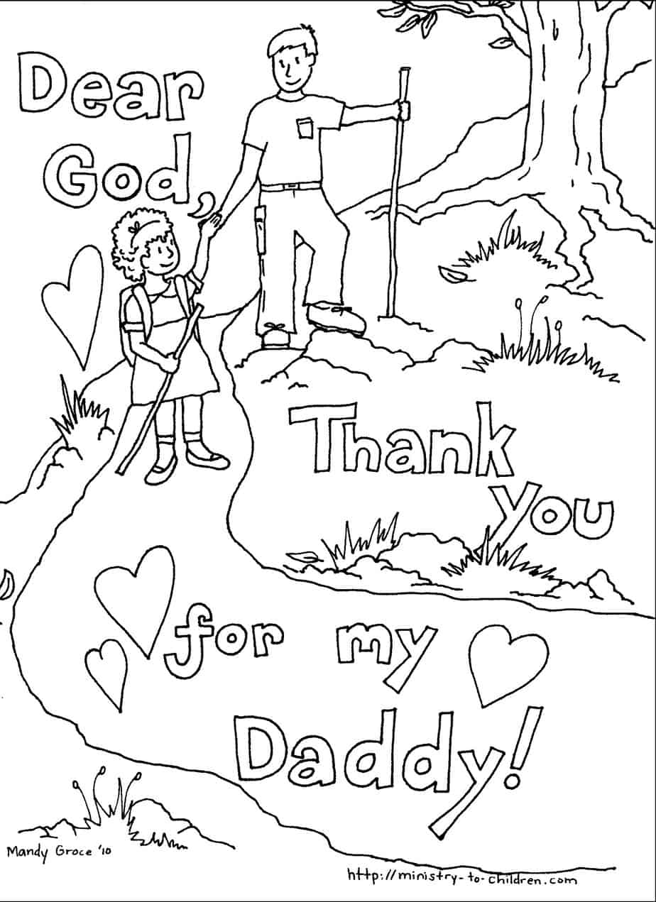 Thank You For Daddy Coloring Pages
